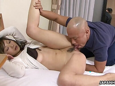 Hawt Japanese muscled busty Asian fucks male knob