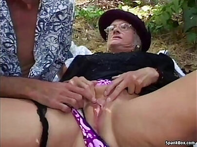 Old granny busted in outdoor bathroom