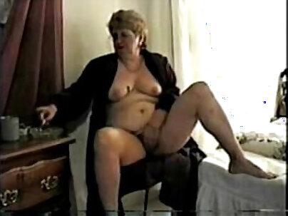 Amateur granny smoking to
