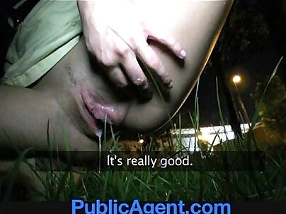 PublicAgent Sexy brunette girl loves my charm and money.