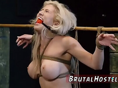 Bondage anal gang rough and blowjob swallow Big-breasted blond hottie