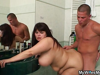 Chubby mom enjoys anal in her bathroom