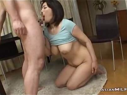 Milf With Milking Tits Fingered Sucking Young Guy Fucked Form Behind While Stand