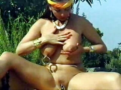 Boater with big tits pierced nipples toying her pussy
