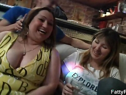Busty plumper gets naked and gives head