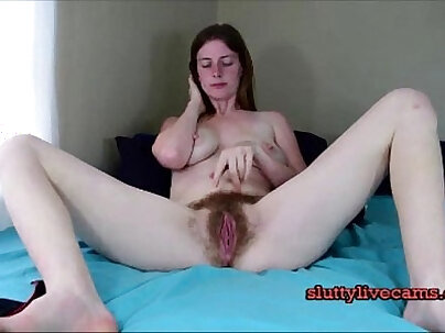 Girl with Hairy pussy  wanks & creams her dildo on webcam - xxxrocket.com