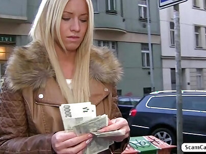 Hot blonde Kiara gets fucked in doggystyle for cash and she receives a creampie