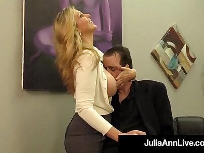 Adult award winner julia ann drains a cock with hot handjob