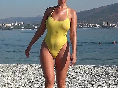 Sheer when wet swimwear and flashing