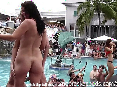 girls pussy and getting totally naked at wild pool party