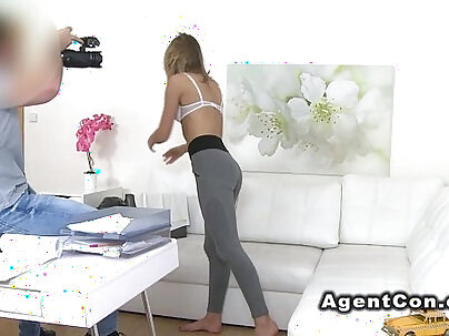 Slim blonde bangs fake agent on casting couch