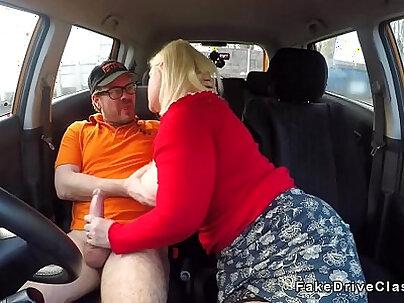 Monster boobs mature blowjob in car