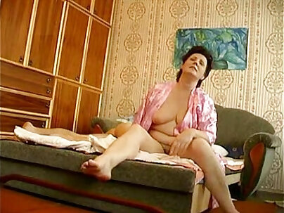 Chubby mature and young Russian chick playing with lusty dolls