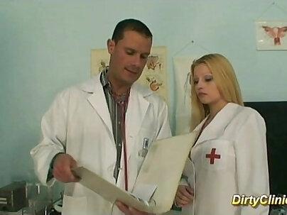 blonde in sexy Nurse rides cock
