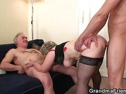 Granny in the Butter Cup panty slamming her big fanny from behind