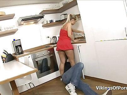 Amateur trio kitchen sex