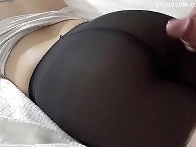 Cumshot on Nice Pantyhose Ass -