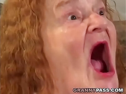 After sucking a big load of cock granny fucks young girl