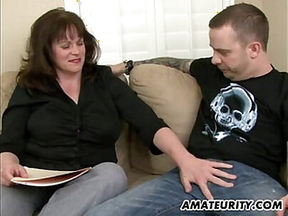 Amateur busty milf gets banged by a horny young delivery guy