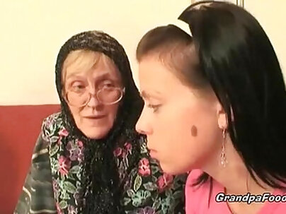 Classy granny experiences a hard cock sucking with her babe