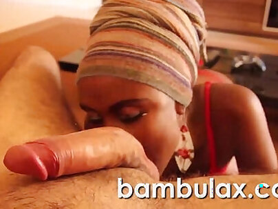 Real african ebony teen blowjob cum in mouth!