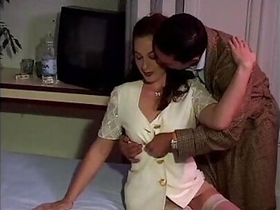 Sexy brunette in white stockings banged by a guy