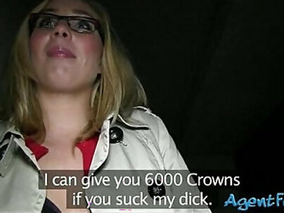 Real amateur blonde girl in glasses screwed up in exchange for money