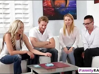 Busty stepmom threeway sex strip