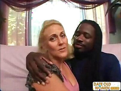 Horny granny does nasty with black guy
