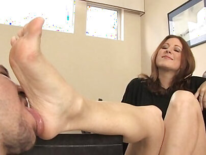 Cleaning for foot fetish bent over garterwiggly pose