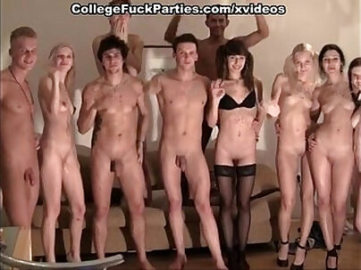 Asian in and back of orgy party! Leah and her friend strip and