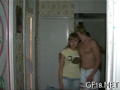Naughty teens kiss and tug