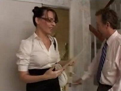 Assfucked secretary worships a dick