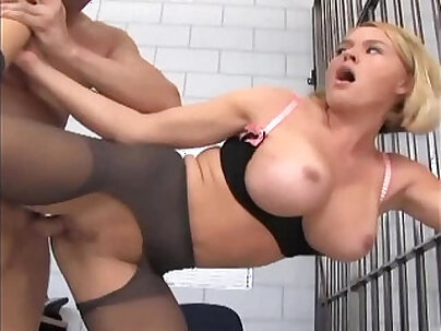 Officer footjob and fucking in ripped up nylons