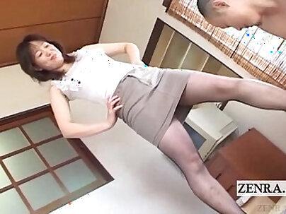 JAPANESE Milf with fishnet pantyhose