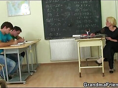 Sexy brunette gets double fisted in a classroom by a teacher